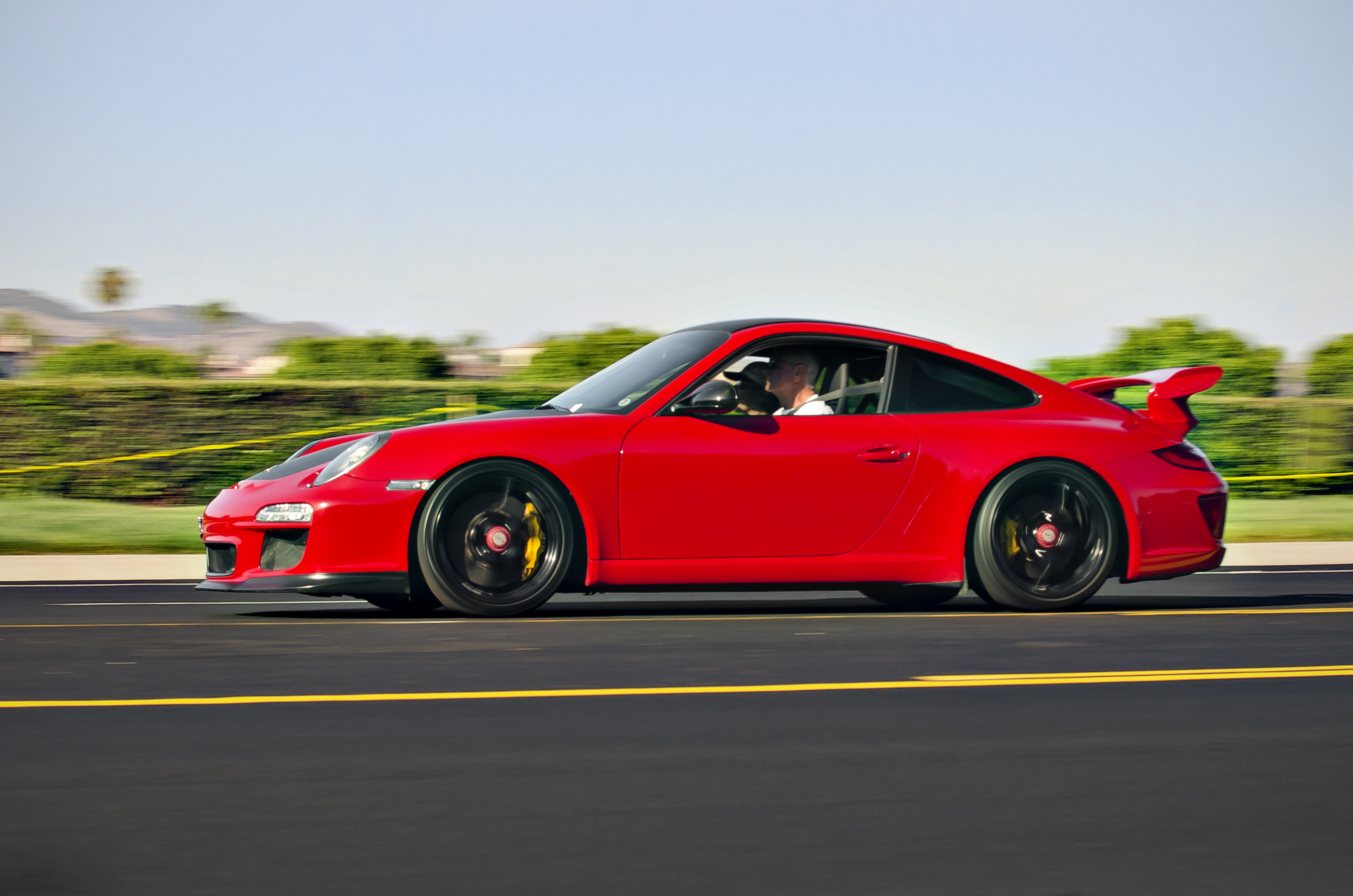file red porsche 911 gt3 leaving cars and coffee in. Black Bedroom Furniture Sets. Home Design Ideas