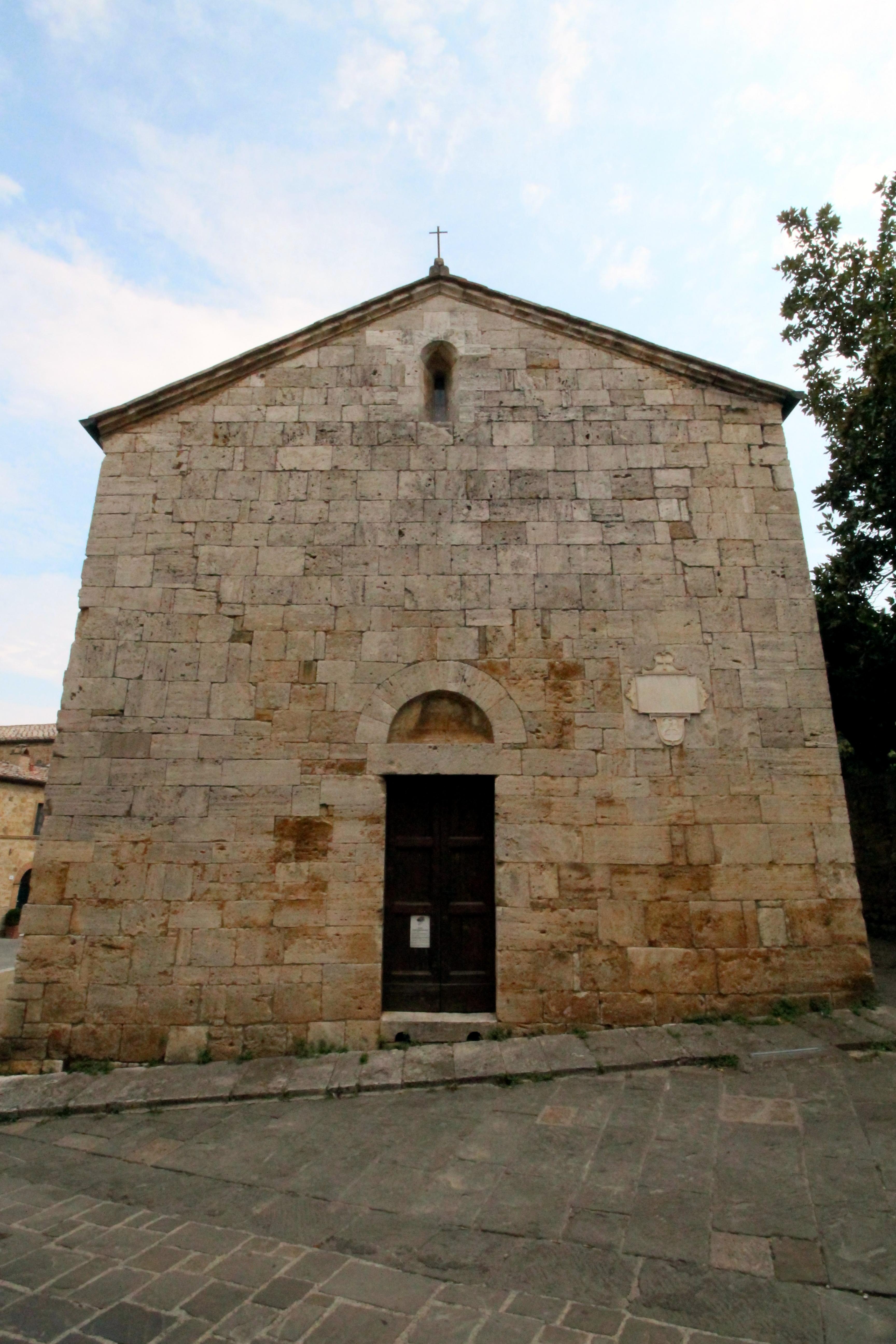 Facade of the Church Santa Maria Assunta, inside the walls of San Quirico d'Orcia, Province of Siena, Tuscany