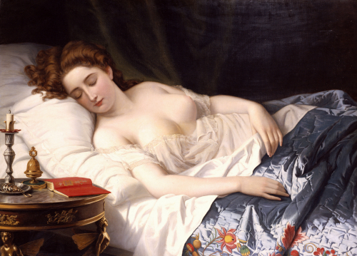 Imogen in her bed-chamber where Iachimo sees the mole under her breast. painting by Wilhelm Ferdinand Souchon, 1872