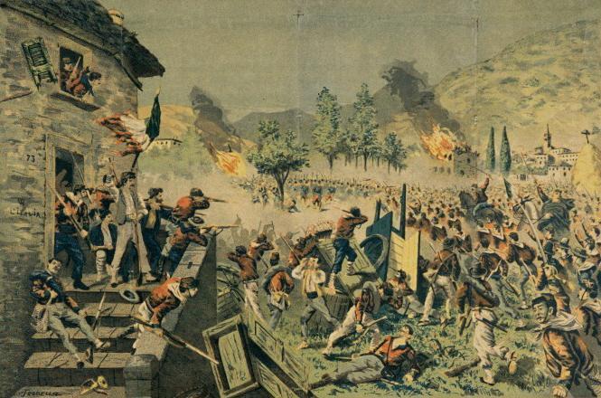 File:T. Rodella - battaglia di Mentana - litografia acquerellata su carta - 1870s.jpg