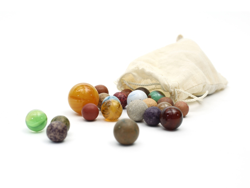 A collection of marbles within the permanent collection of The Children's Museum of Indianapolis.