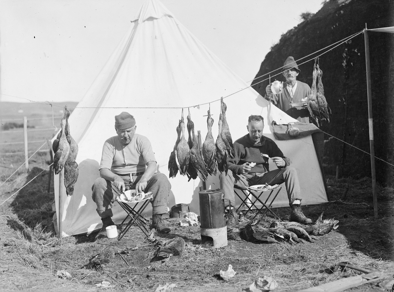 FileThree hunters eating alongside tent and game (AM 78671-1). & File:Three hunters eating alongside tent and game (AM 78671-1).jpg ...