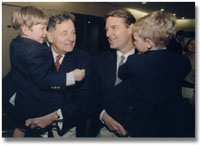 Bayh with his father and his young sons
