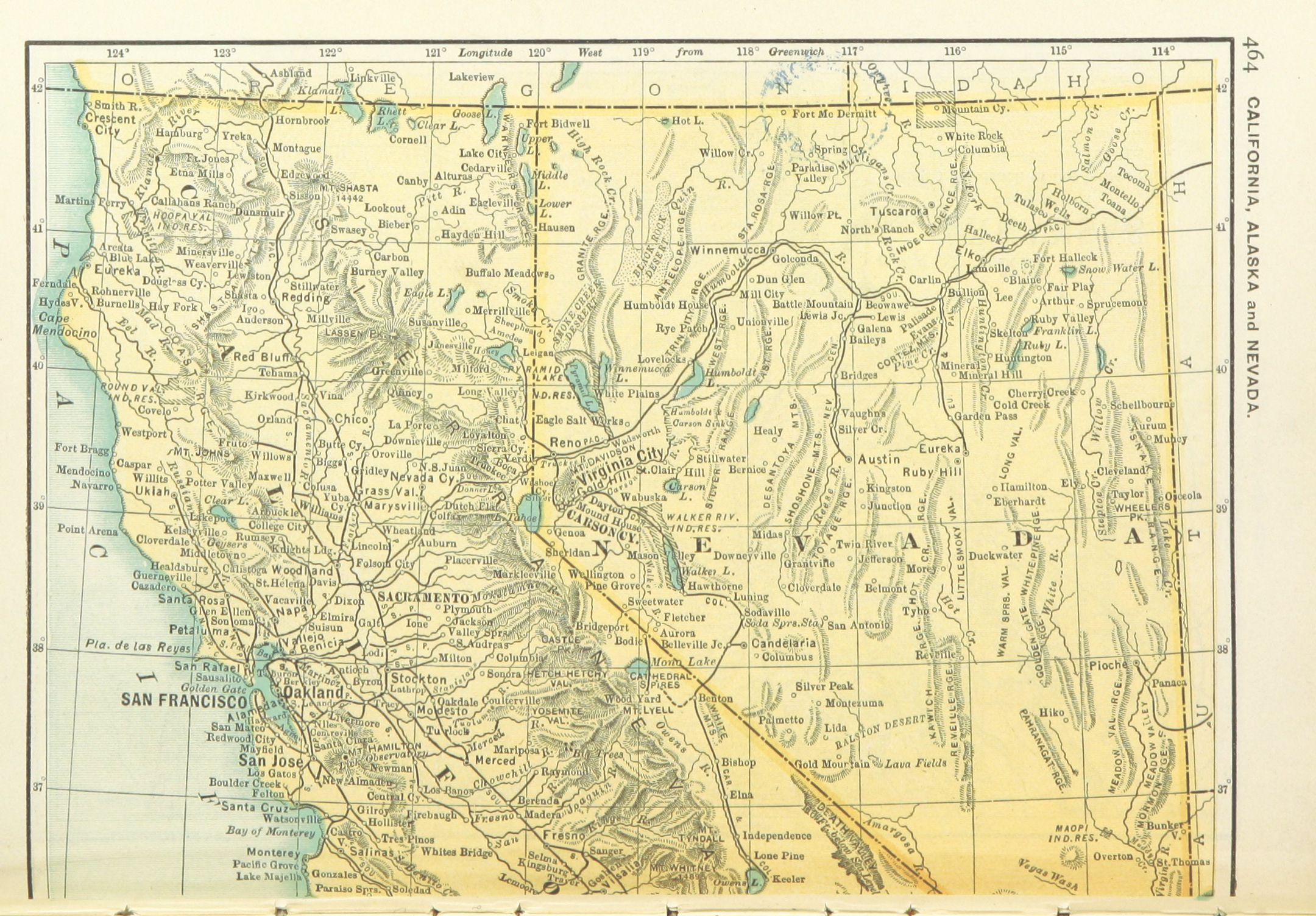 FileUSMAPS1891 P466  MAP OF CALIFORNIA NEVADA AND