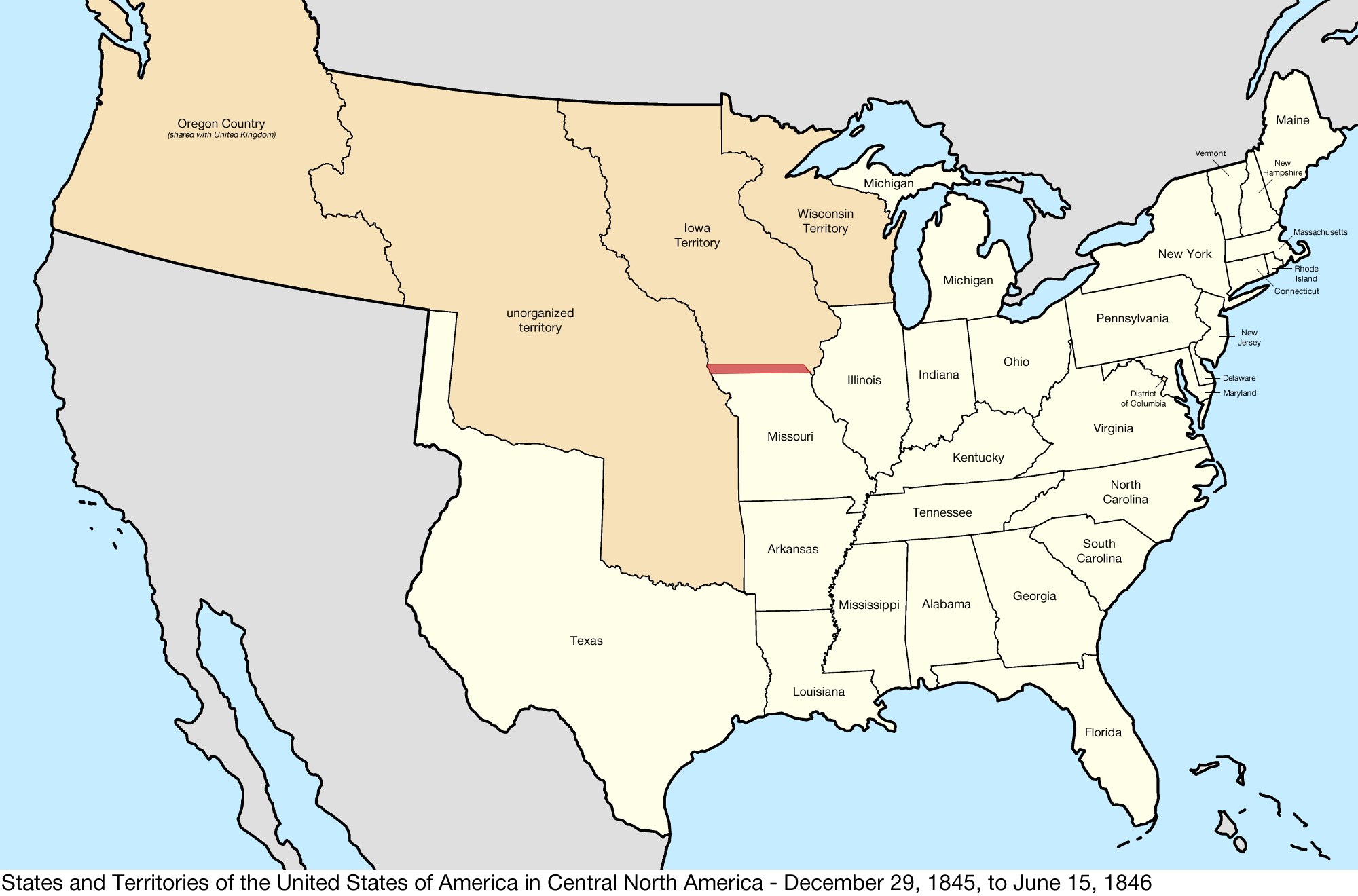 Map Of Us In 1846 File:United States Central map 1845 12 29 to 1846 06 15.png