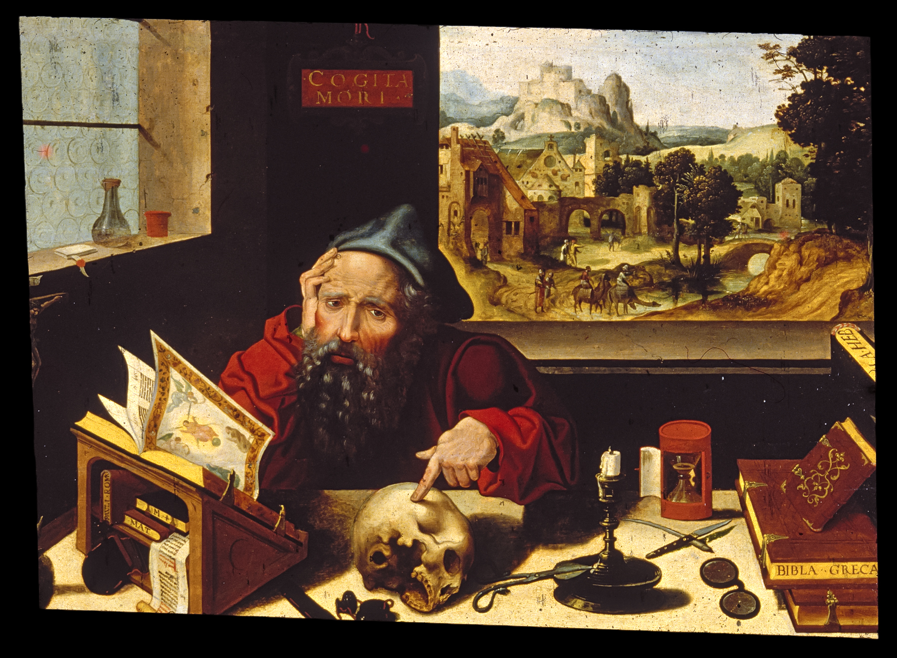 This painting by the Workshop of Pieter Coecke van Aelst depicts St. Jerome in his study. The Walters Art Museum.