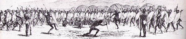 A muster and dance of Zulu regiments at Shaka's kraal, as recorded by European visitors to his kingdom, c. 1827.