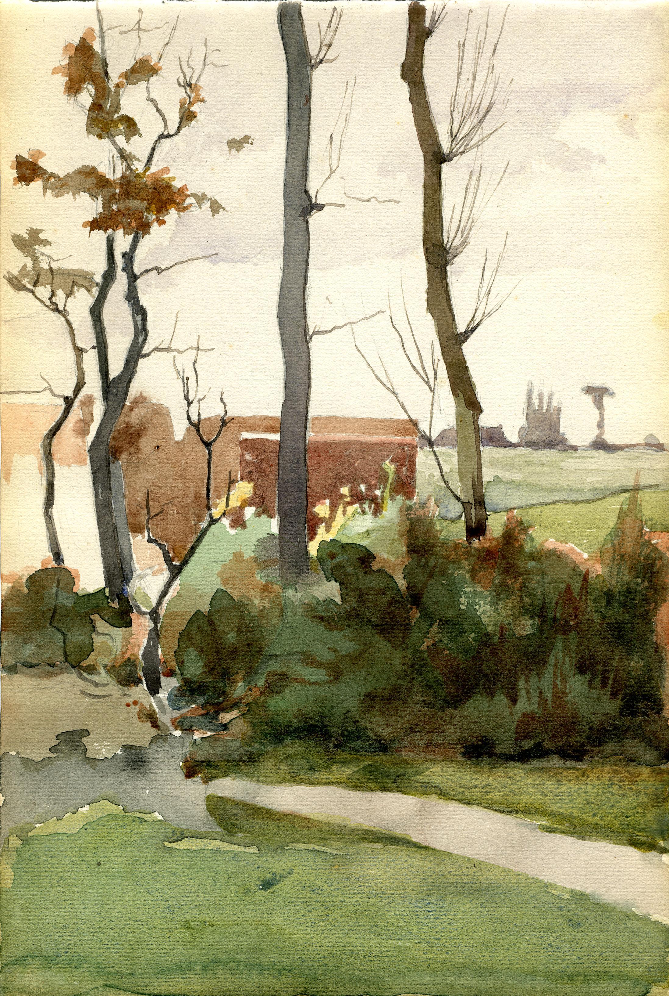 File:1896 chemin villageois, aquarelle par Gabriel van Dievoet (1875-1934).JPG - Wikimedia Commons