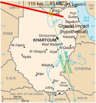 Impact prévisible de lastéroïde 2008 TC3