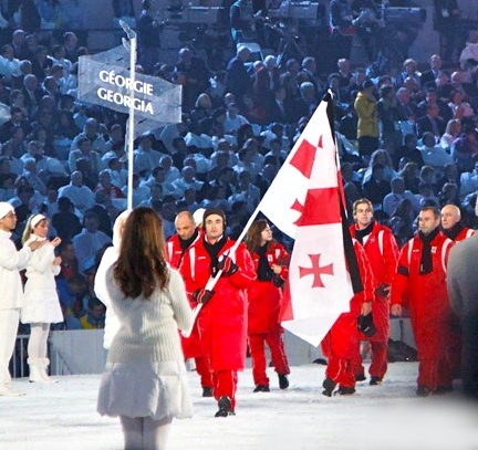 Georgian athletes during the opening ceremony 2010 Olympic Winter Games Opening Ceremony - Georgia entering croppedtighter.jpg