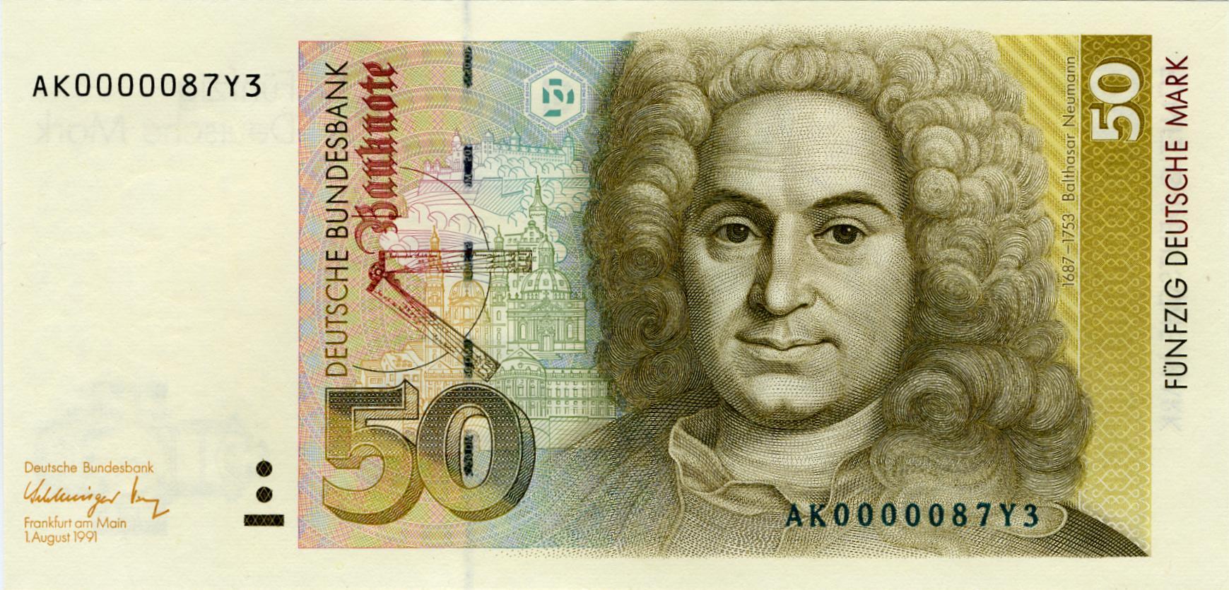 50-D-Mark-Banknote mit historischen Gebäuden von Würzburg