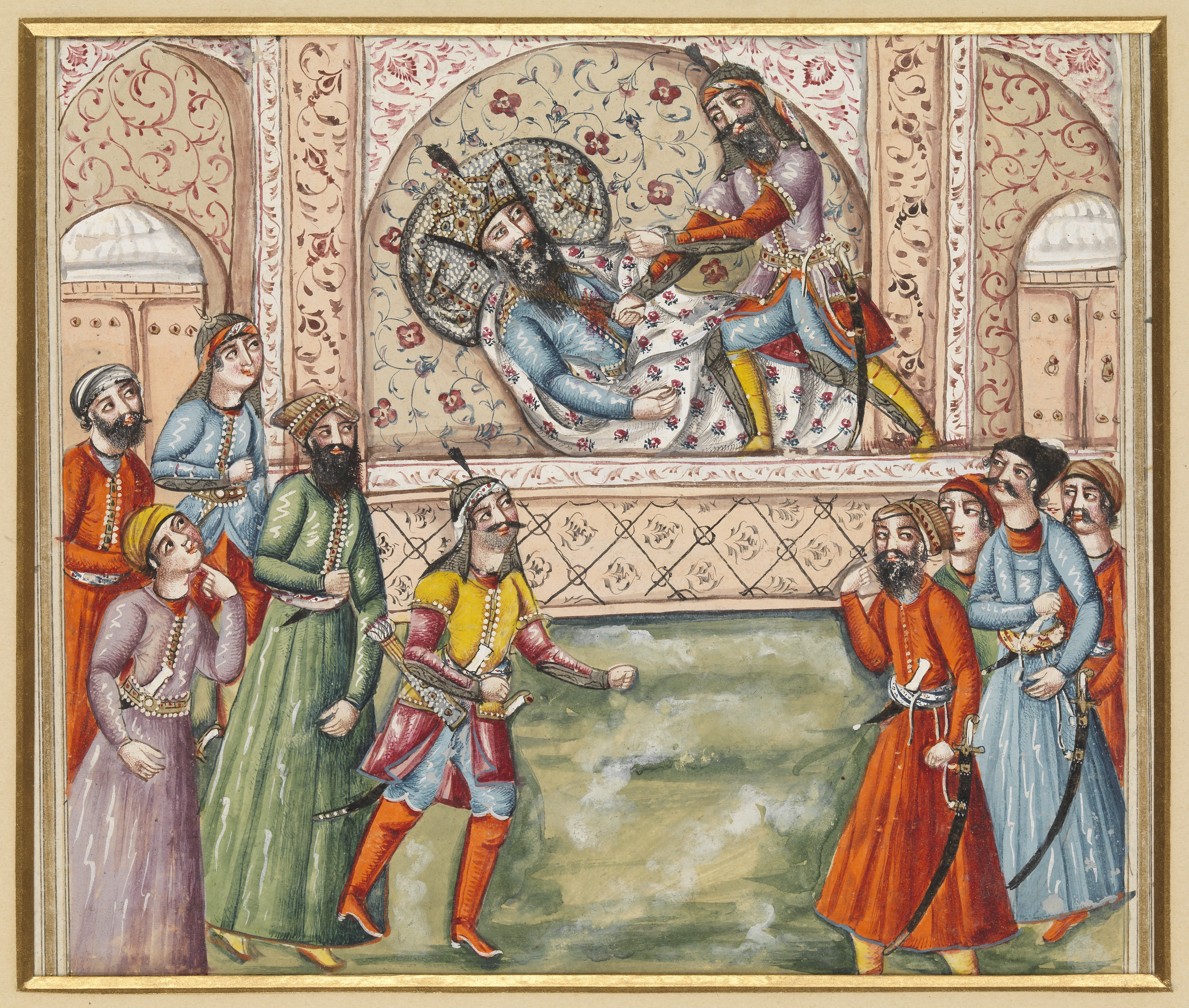 Scene from the Shahnameh. Afrasiyab (standing figure) executes Nauzar (lying down). [[Wellcome Library