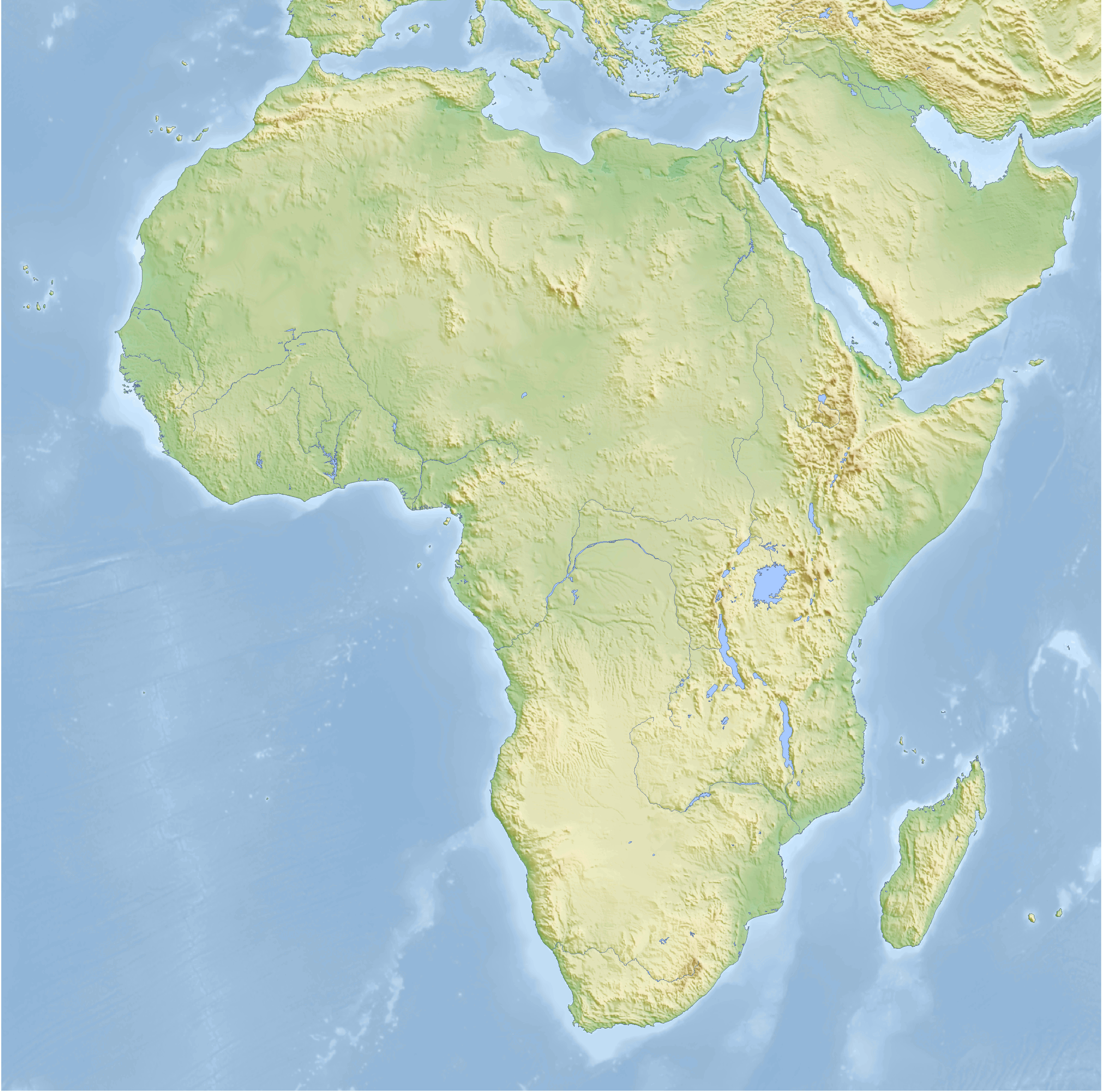 Elevation Map Of Africa With Key.File Africa Topography Map Png Wikimedia Commons