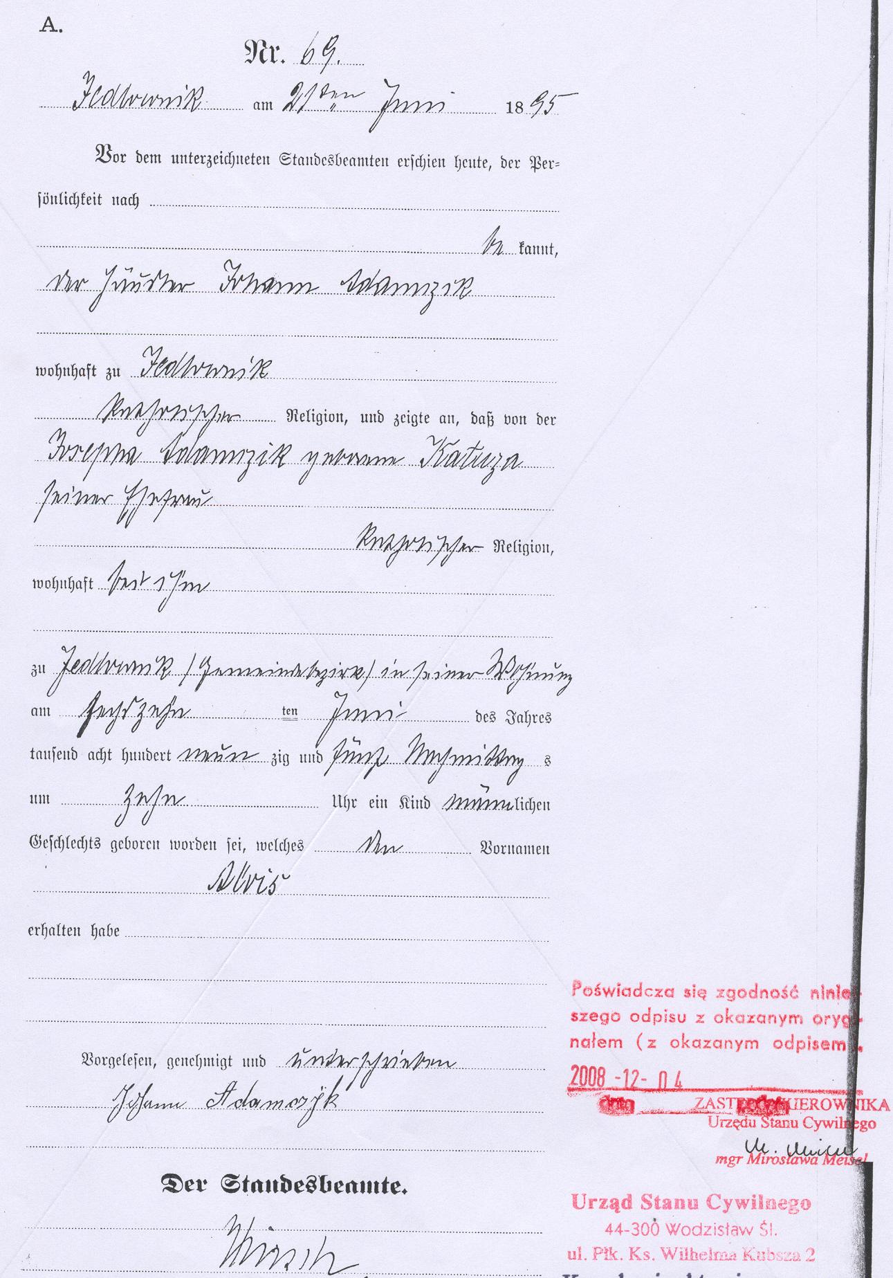 New photograph of ks birth certificate business cards and resume file alojzy alois adamczyk akt urodzenia birth certificate aiddatafo Choice Image