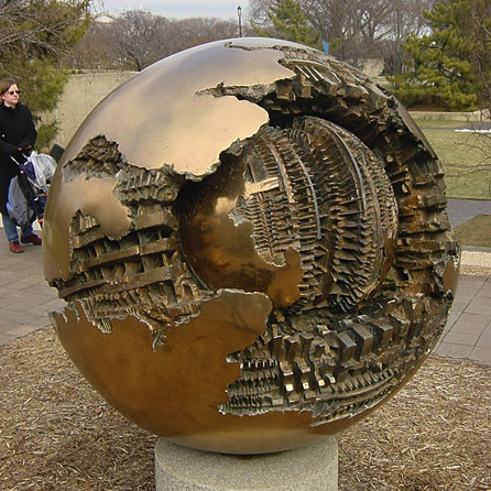 """Sphere Within Sphere"" by Arnaldo Pomodoro"
