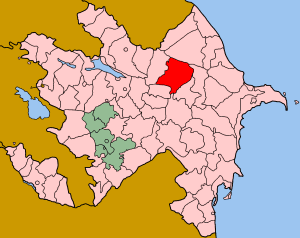 Map of Azerbaijan showing Ismayilli rayon