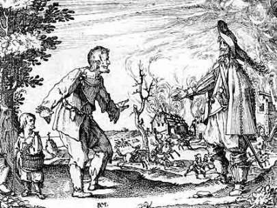 A peasant begs for mercy in front of a burning farm. Bondi brennandi hus.jpg