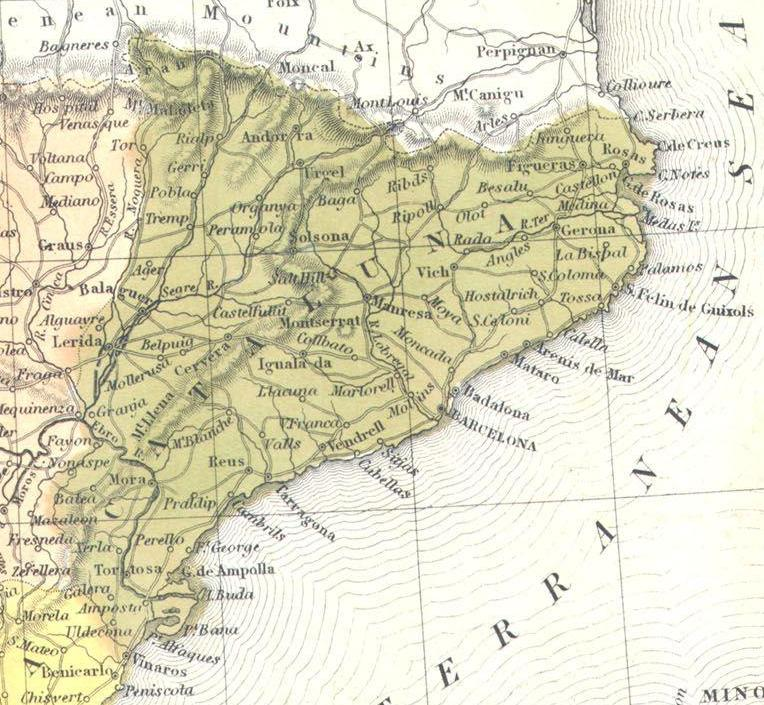 Map Of Tour Of Spain 2017.File Catalonia 1850 Mitchell Map Of Spain And Portugal