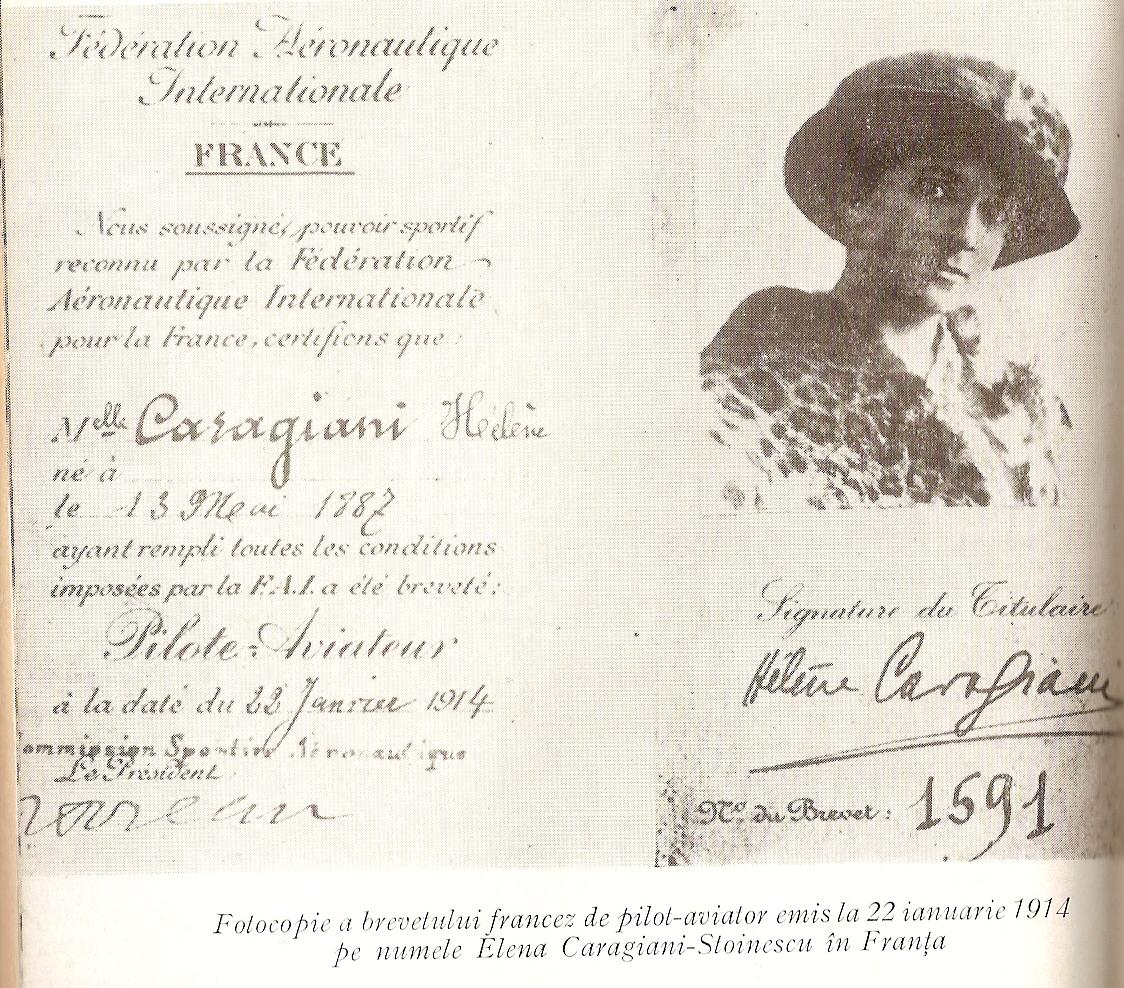 Elena Caragiani - 1st Romanian Woman Pilot  (www.google.ro )