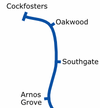 London Underground services in Enfield at the eastern end of the Piccadilly line.