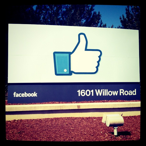 Facebook sign on Willow Road
