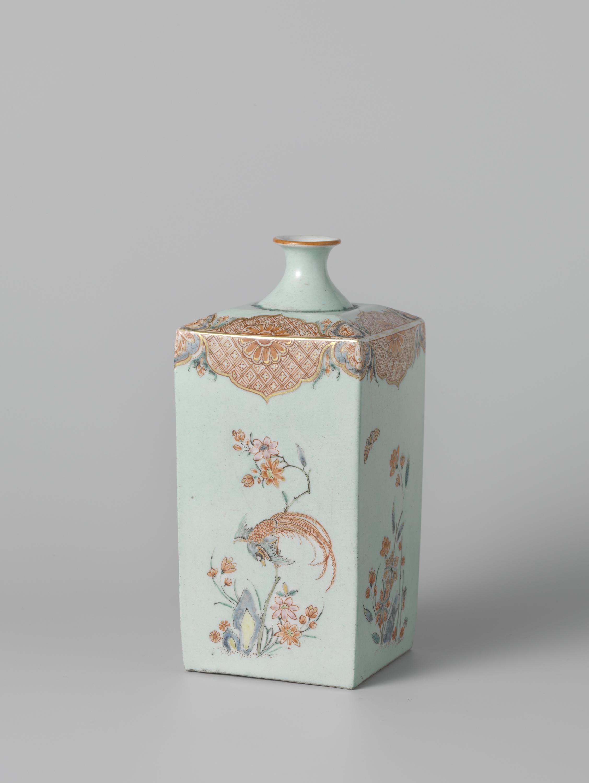 File fles vierkant met polychrome decoratie van onder for Decoratie fles