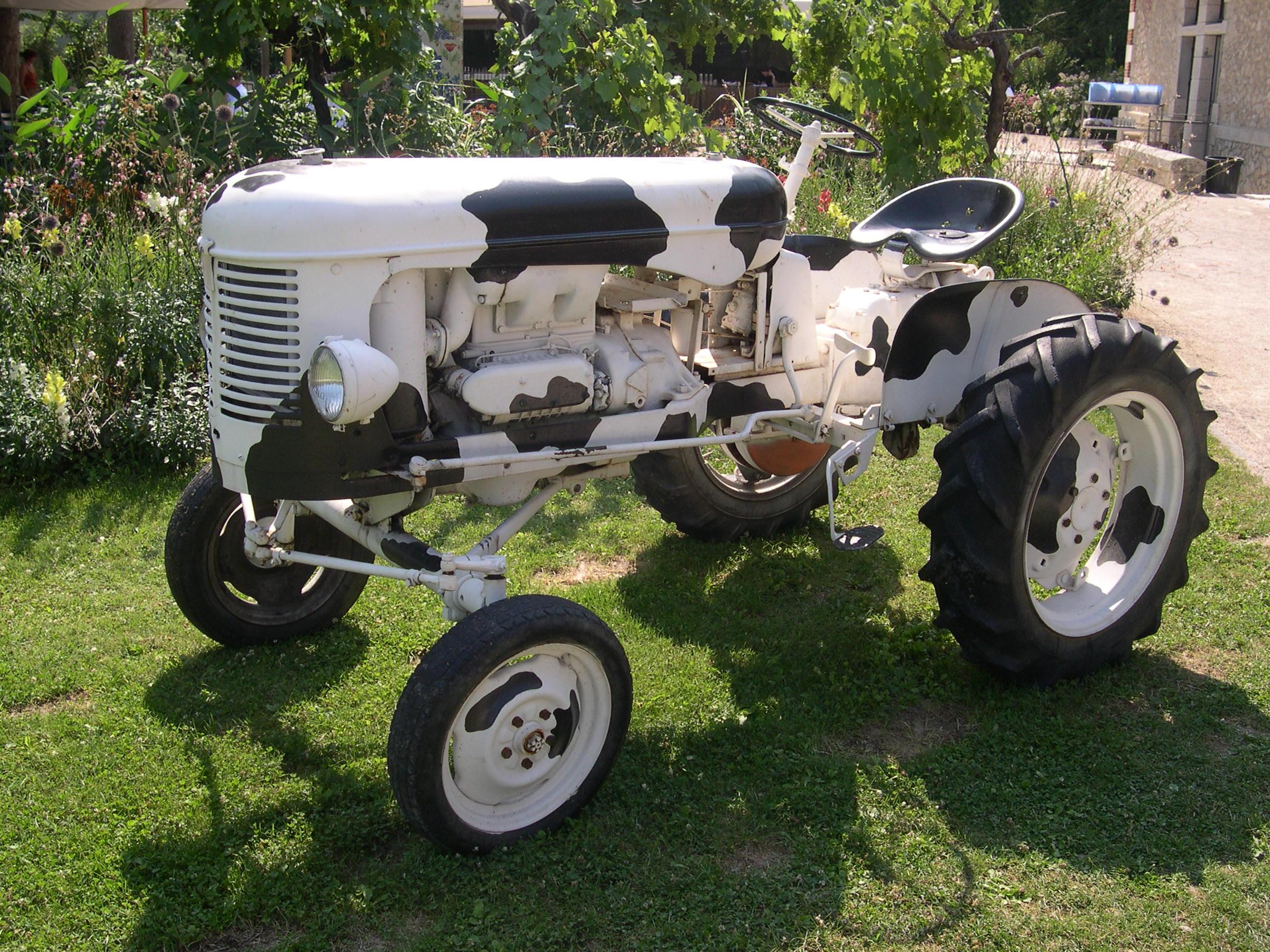 Photo réelle d'un tracteur peinturé comme une vache, donc blanche avec des taches noires.