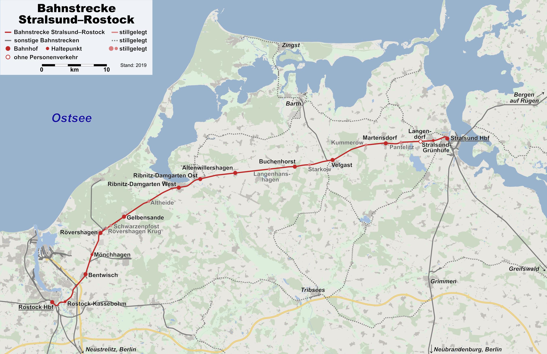 Stralsund Karte.Datei Karte Bahnstrecke Stralsund Rostock Png Wikipedia