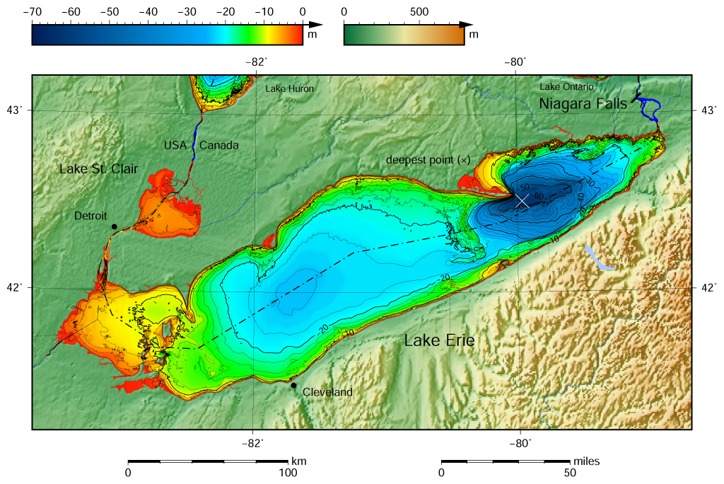 Lake Erie Depth Map File:Lake Erie and Lake Saint Clair bathymetry map.png   Wikimedia