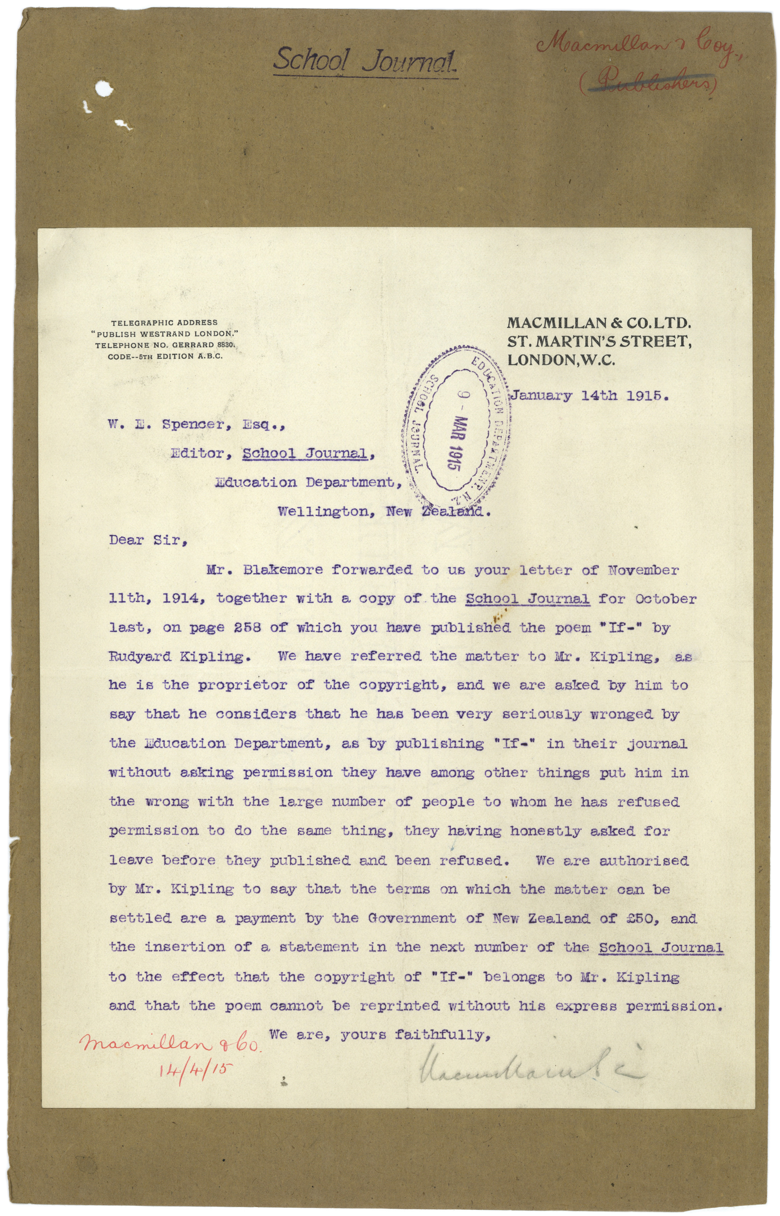 Fileletter Regarding The Publication Of Rudyard Kiplings