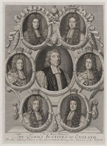 Archbishop Tenison was one of seven Lord Justices whom King William appointed to administer the kingdom whilst he was on campaign in Europe. Lord Justices of England.jpg