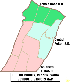 Map of Fulton County, Pennsylvania Public School Districts Map of Fulton County Pennsylvania School Districts.png