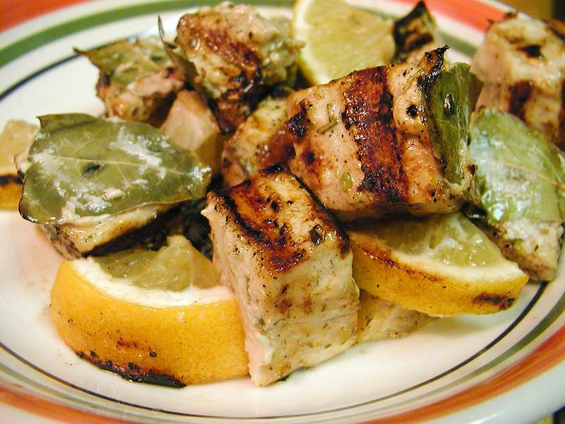 North African grilled Swordfish toast