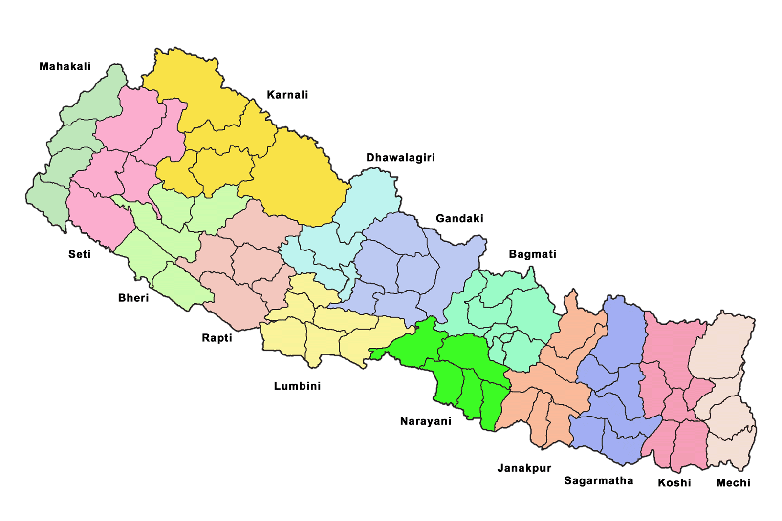 map nepal zones districts