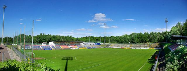 Ausblick vom Presseraum - das Waldstadion an der Kaiserlinde
