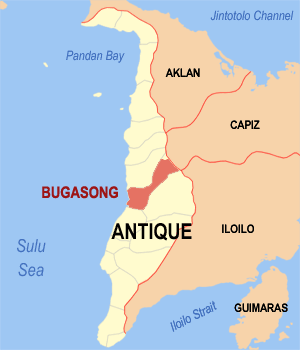 Map of Antique showing the location of Bugasong