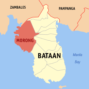 Map of Bataan showing the location of Morong