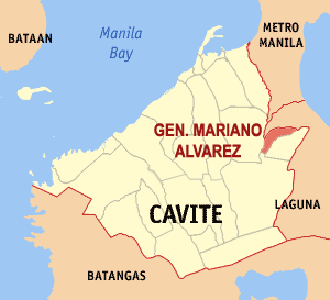 Map of Cavite showing the location of General Mariano Alvarez
