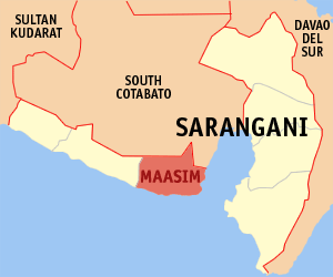 Map of Sarangani showing the location of Maasim