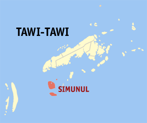 Map of Tawi-Tawi showing the location of Simunul