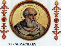 Pope Zachary was the last pope of Greek extraction and the last to seek imperial confirmation of his election. Pope Zachary.jpg