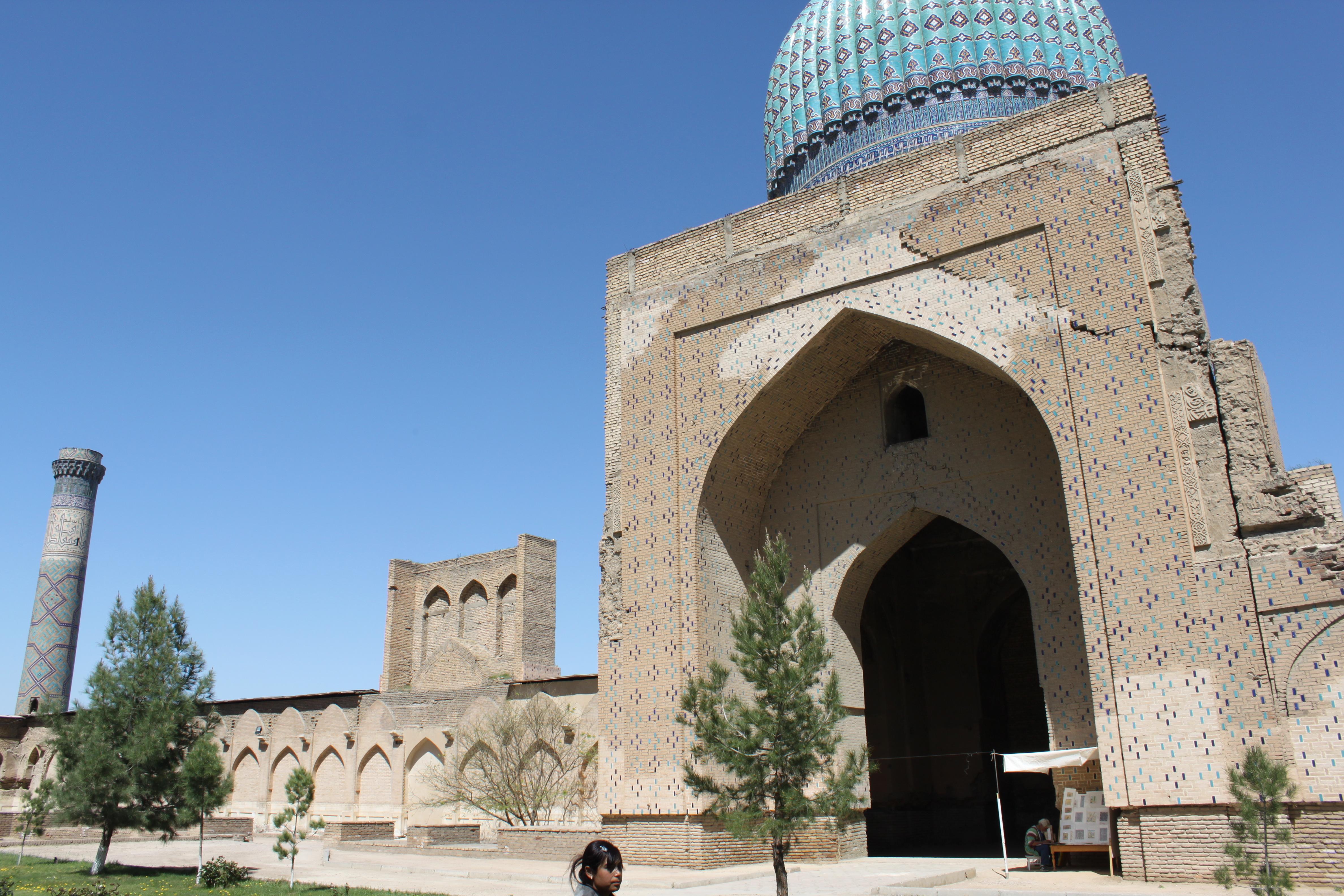 The most beautiful mosques to visit: North side of Bibi Khanoum, Samarkand, Uzbekistan.