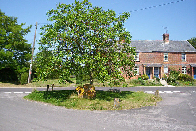 File:Sarsen Stones under a tree at Alton Priors Wilts. - geograph.org.uk - 936405.jpg