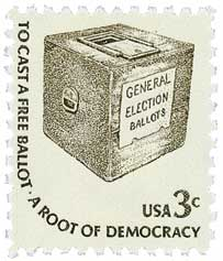 ballot box on us stamp