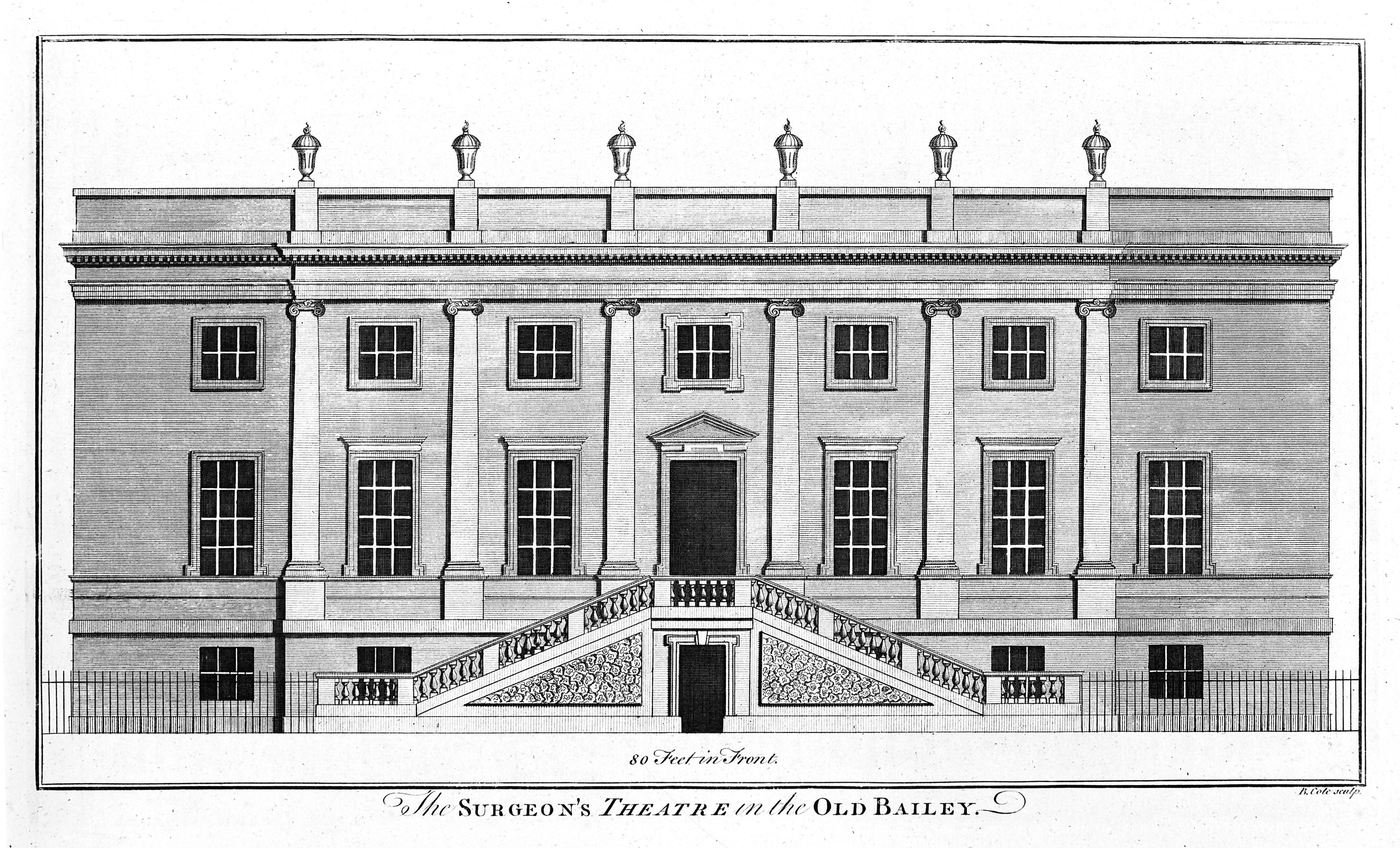 File:Surgeons' Hall, Old Bailey, London, the facade. Engraving by