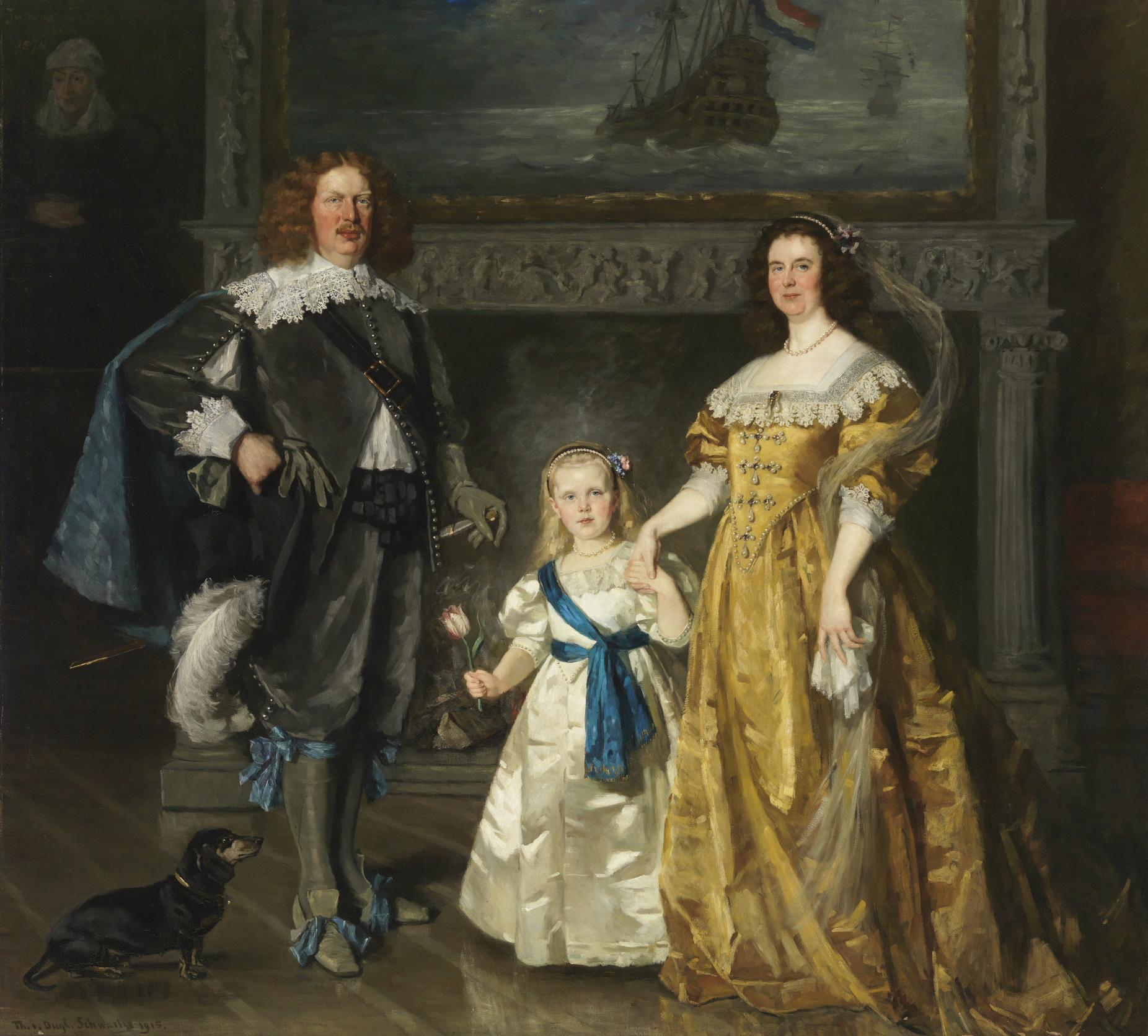 The Royal Family with Queen Wilhelmina van Oranje-Nassau, prince Hendrik van Mecklenburg-Schwerin and princess Juliana van Oranje-Nassau in historical outfits.