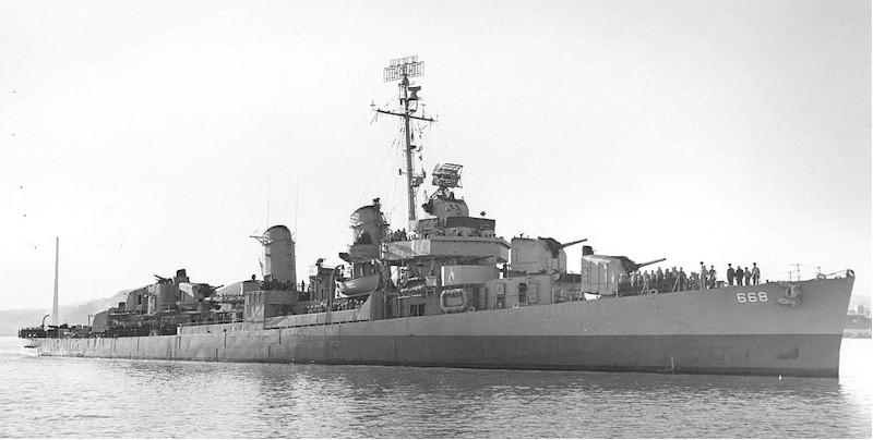 USS Clarence K. Bronson (DD-668), off Mare Island, 15 June 1945.