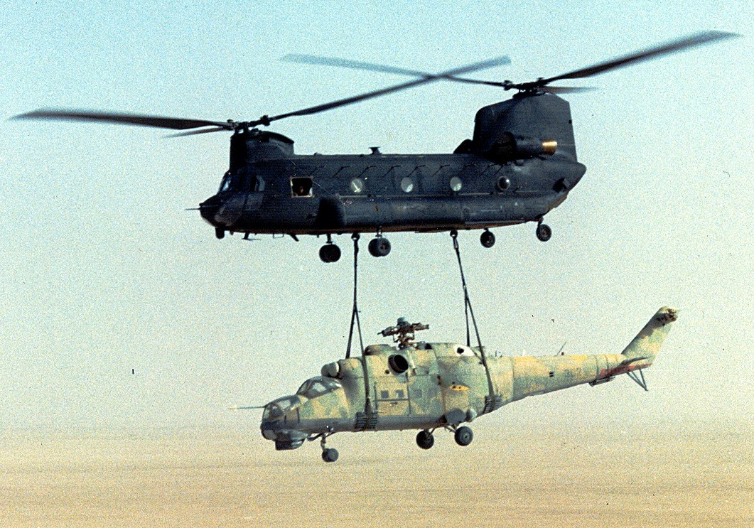 US Army 160th SOAR(A) CH-47 sling-load a Mi-24 out of Chad-Operation Mount Hope III.jpg