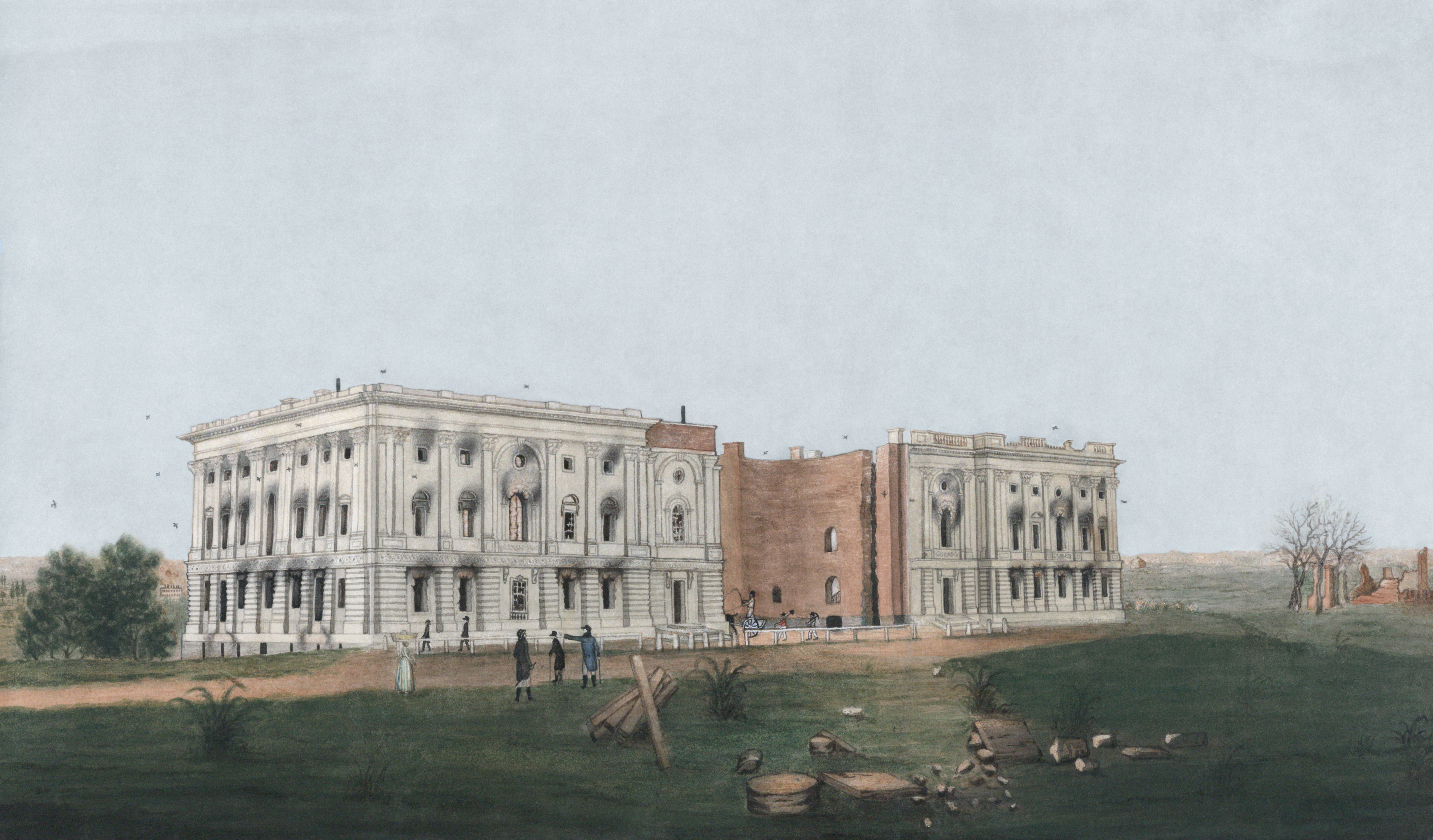 The Capitol After The August 1814 Burning Of Washington D C By The British During The War Of 1812 Painting 1814 By George Munger