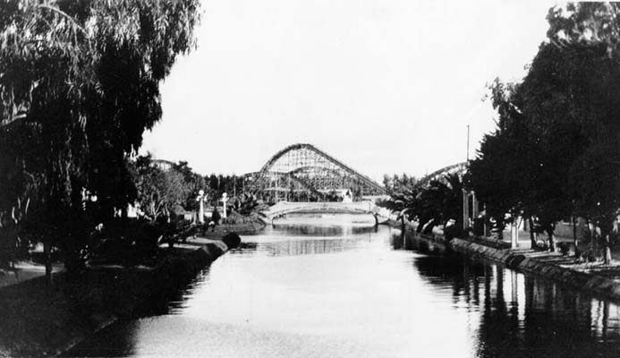 Canals with roller coaster in background, 1921.